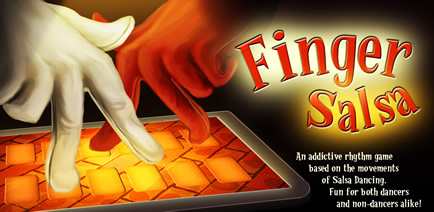 Finger Salsa App for iPhone & Android - an addictive rhtyhm game based on salsa dancing!